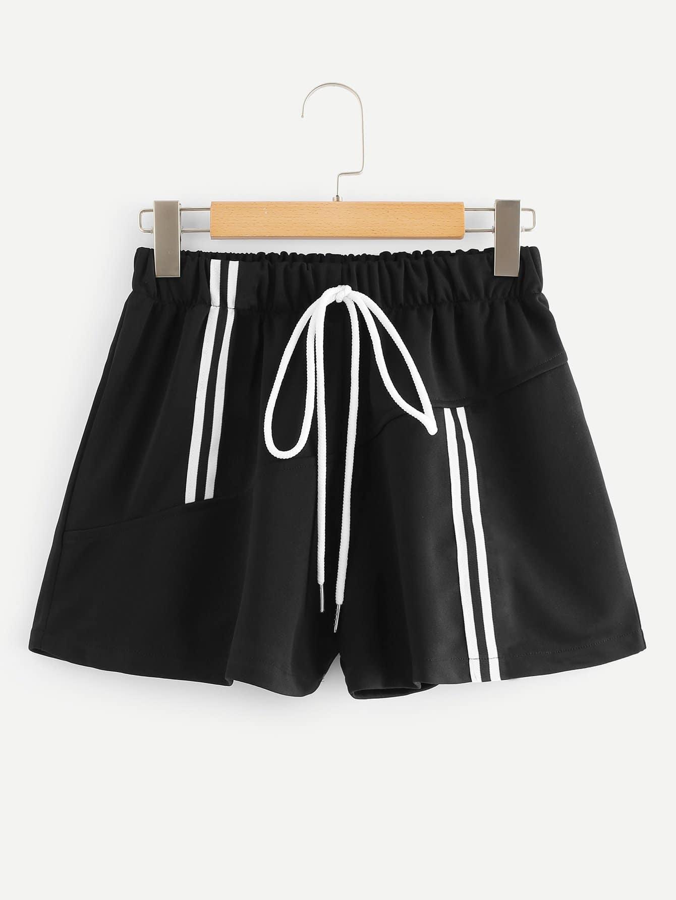 Striped Tape Drawstring Waist Shorts men striped tape side drawstring shorts