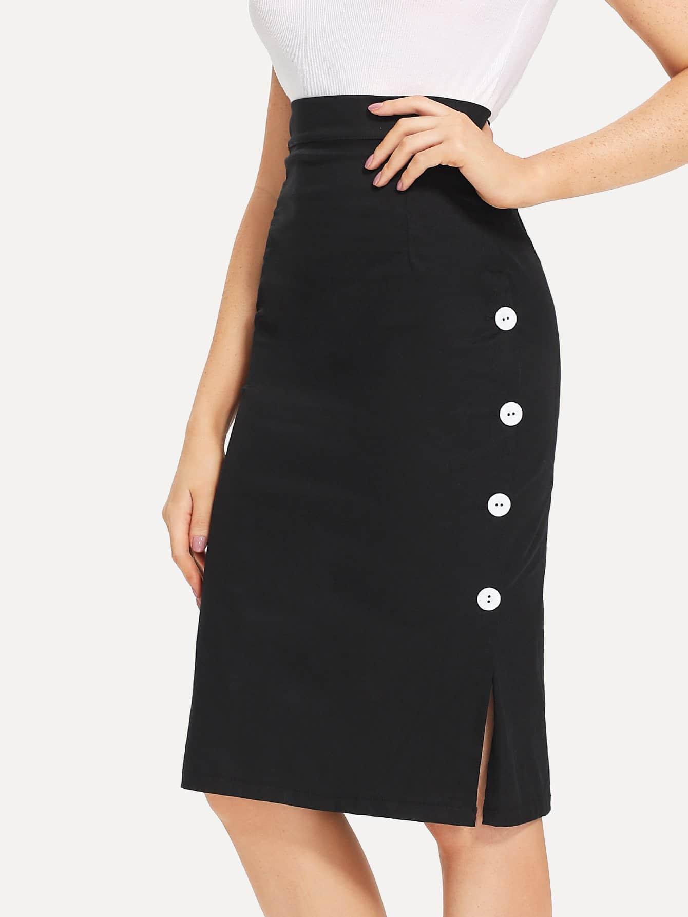 Single Breasted Side Skirt