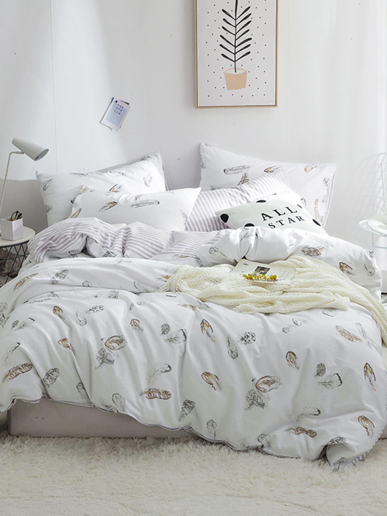 Купить Комплект постельного белья с полосками и перья, null, SheIn