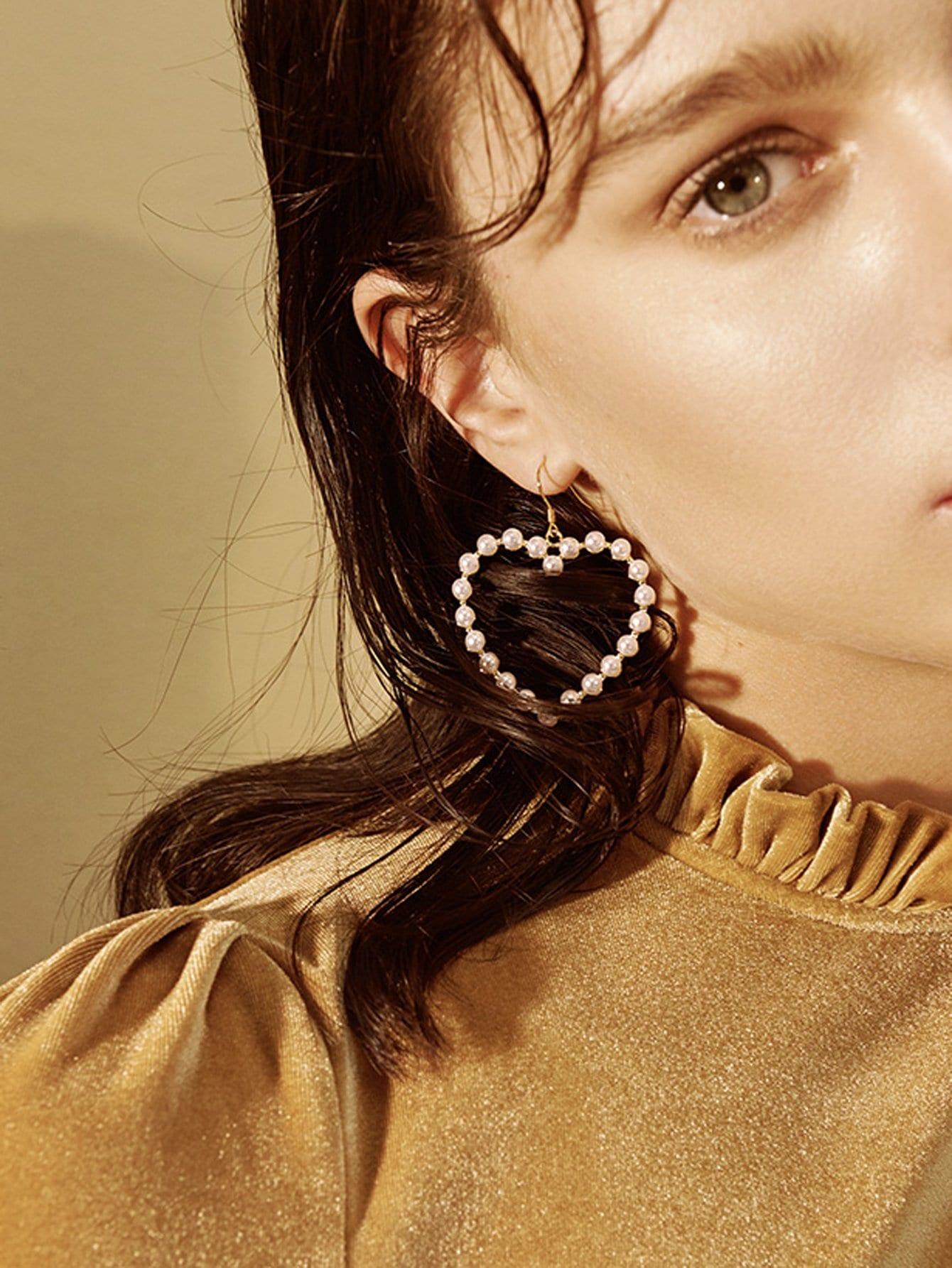 Open Heart Shape Drop Earrings