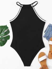 Contrast Trim Halter Bodysuit