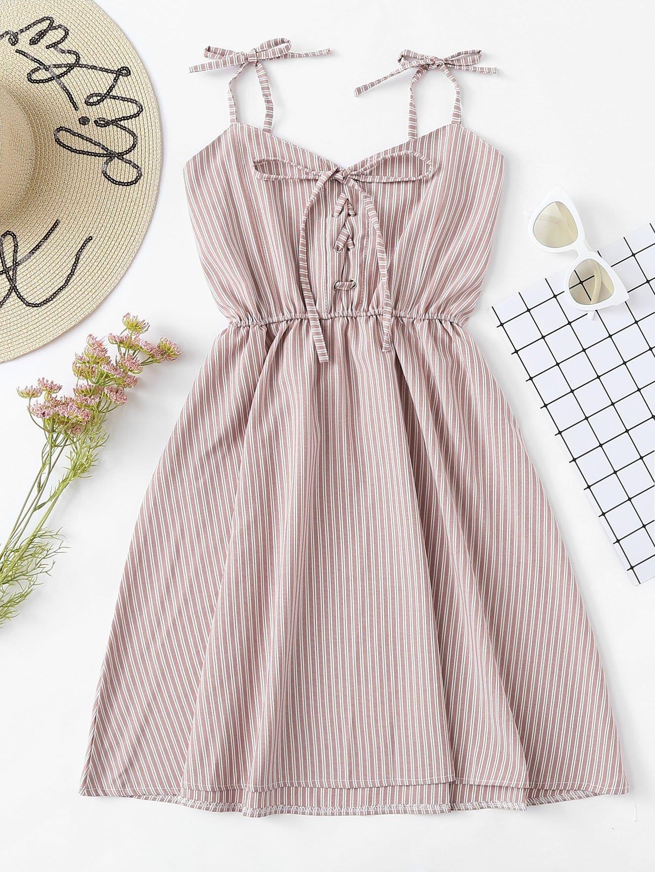 Tie Shoulder Eyelet Lace-Up Striped Dress