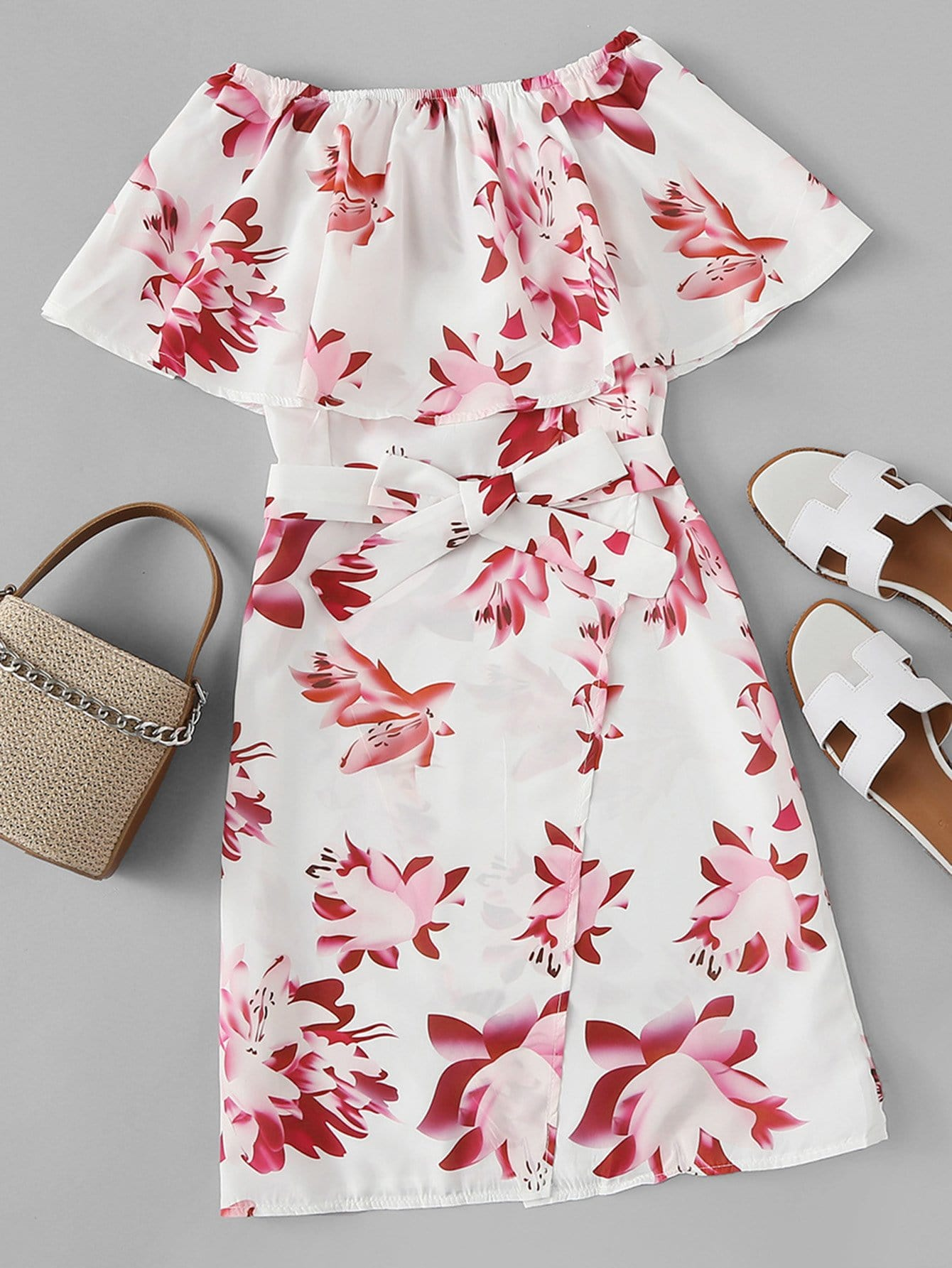 Off Shoulder Tie Waist Floral Dress