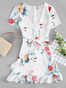 Deep V Neckline Botanical Print Belted Ruffle Dress