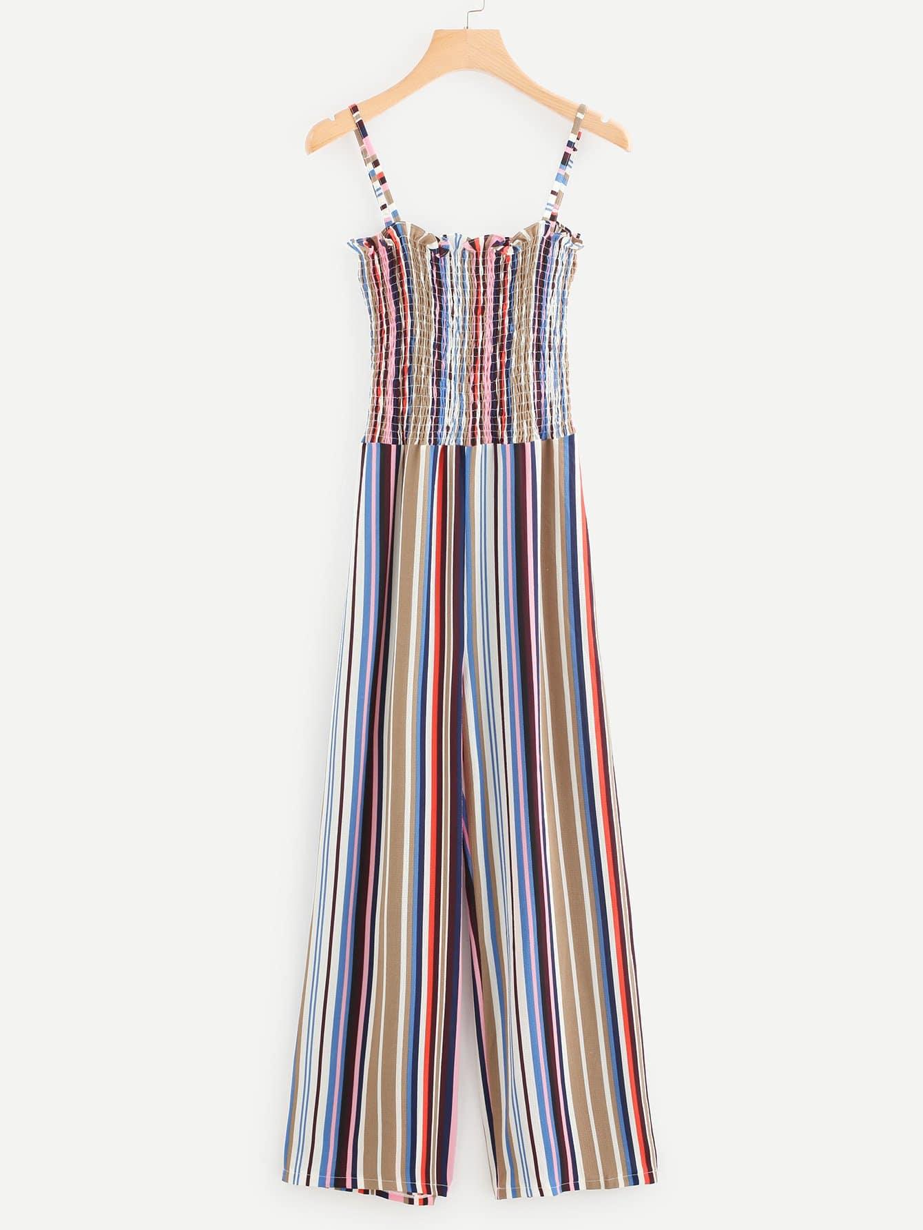 Multi Striped Frill Trim Shirred Cami Jumpsuit