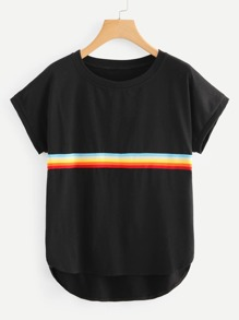Contrast Striped Tape Curved Hem Tee