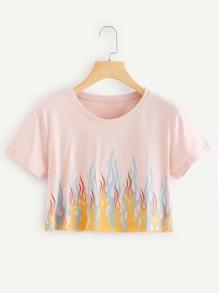 Fire Print Crop Tee