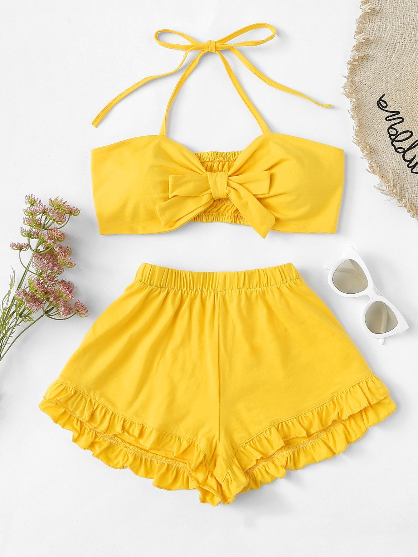 Tie Front Crop Halter Top With Shorts halter neck water color crop top with ringer shorts