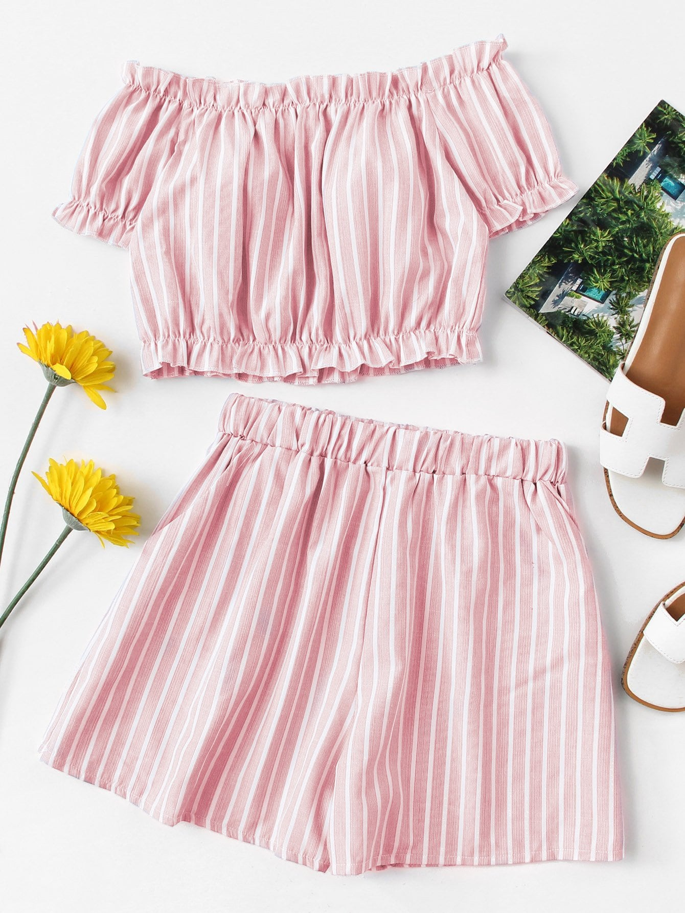 Off Shoulder Striped Crop Top With Shorts
