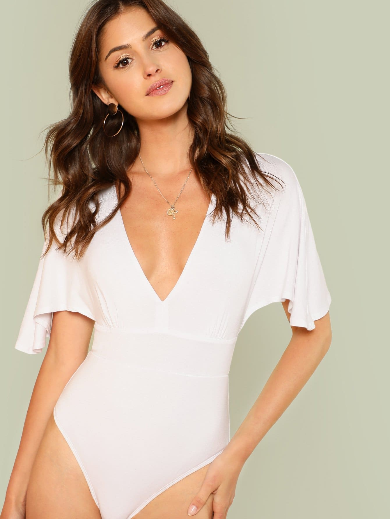 Flutter Sleeve Deep V Neck Bodysuit pearl detail bell sleeve v chock neck bodysuit