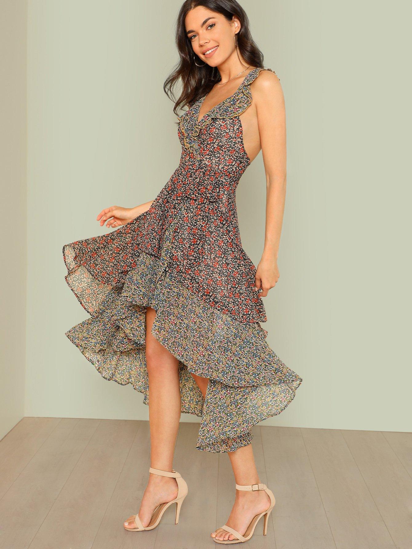 Flower Print Ruffle Tiered Dip Hem Dress patchwork print tiered hem halter dress