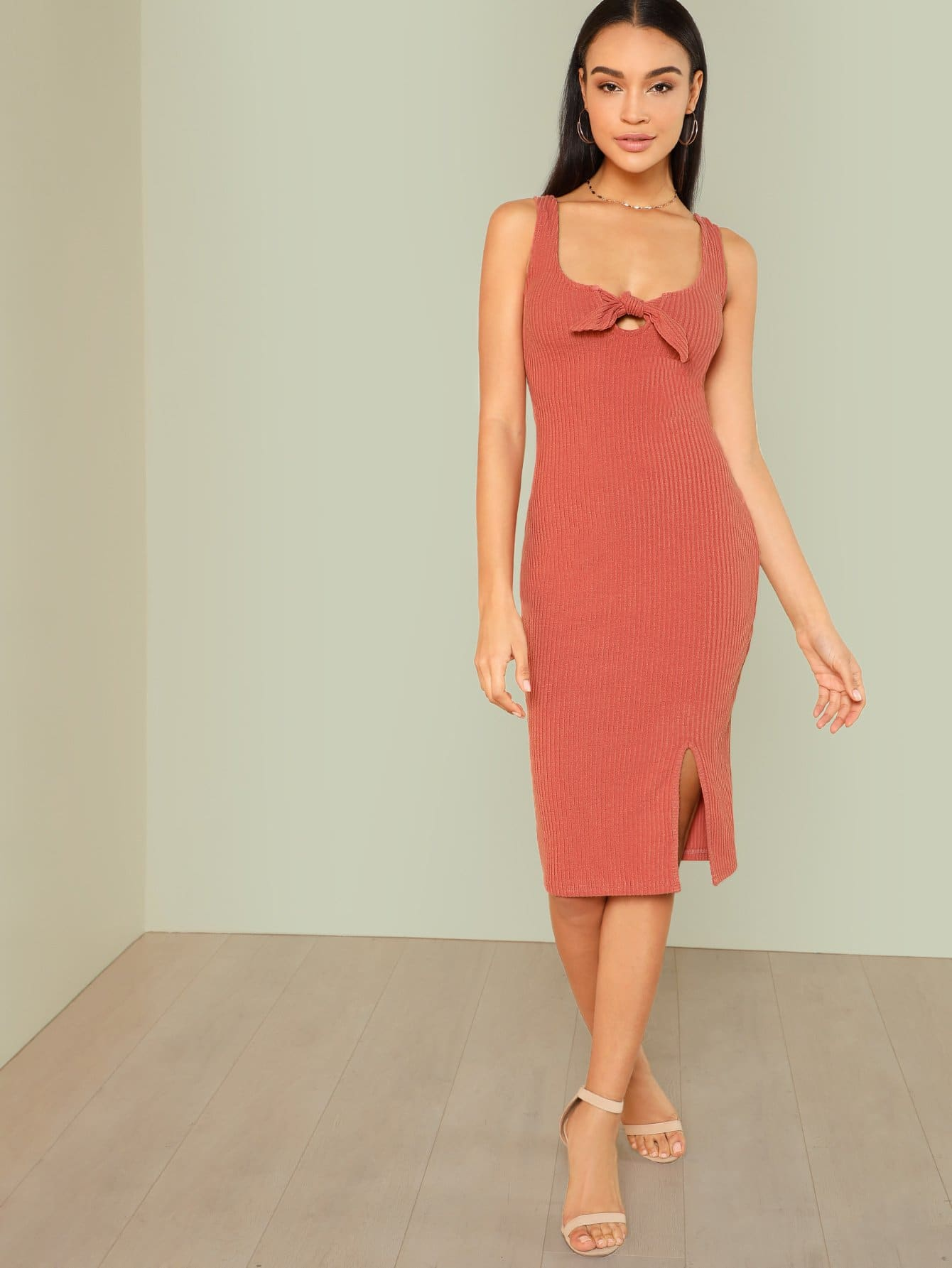 Knot Slit Hem Fitted Dress embroidery applique knot back fitted