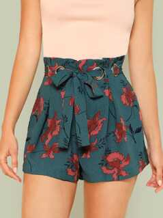 Boxed Pleated O-Ring Belted Shorts