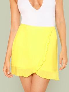 Overlap Ruffle Trim Skirt