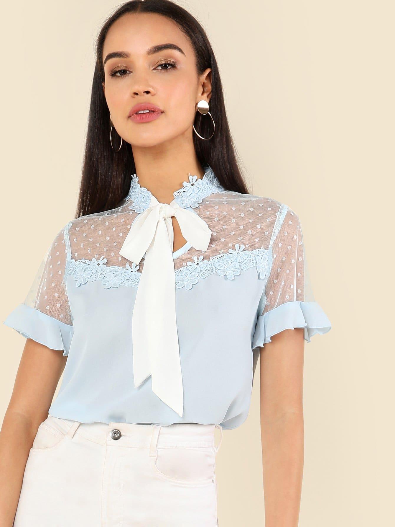 Tie Neck Lace Applique Mesh Yoke Top lace yoke split tie back top