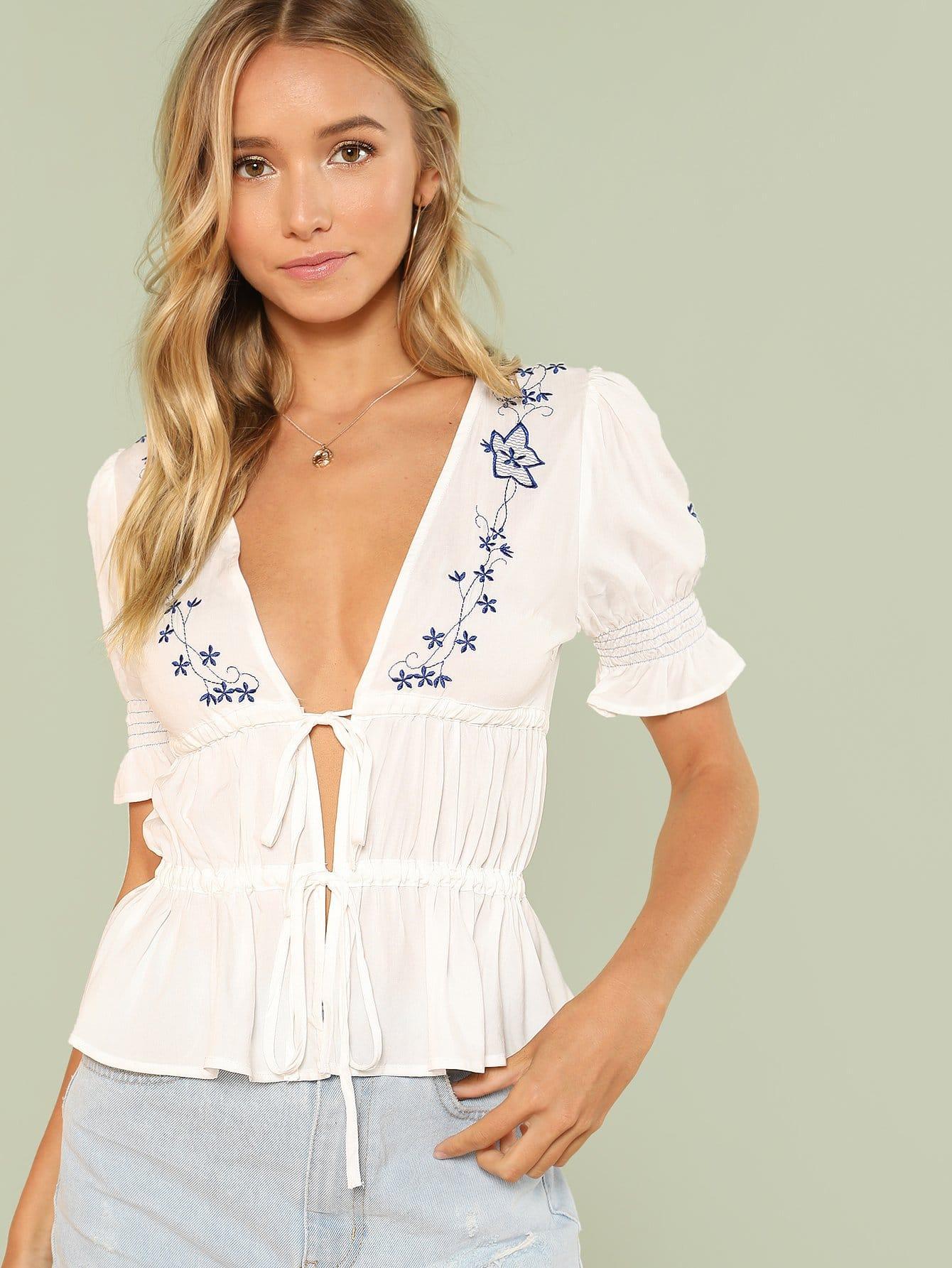 Купить Блузка с вышивкой и широкими рукавами, Racquelle Lawrence, SheIn