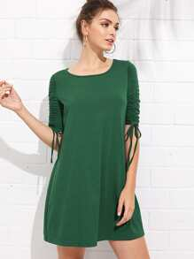 Shirred Drawstring Sleeve Swing Dress