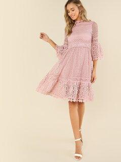 Flounce Sleeve Guipure Lace Dress