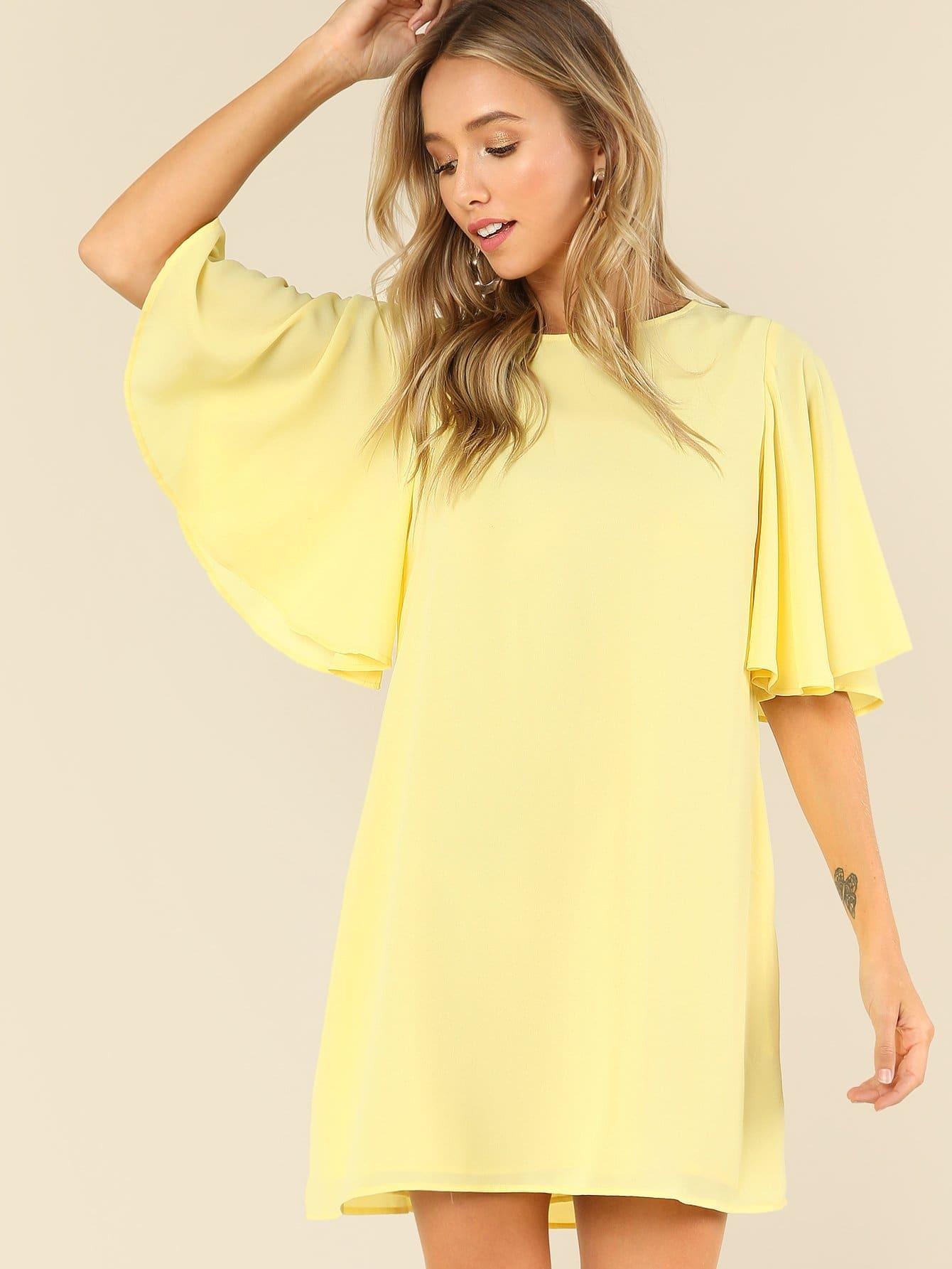 Butterfly Sleeve Solid Swing Dress long sleeve solid swing dress
