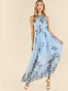 Botanical Print Pleated Halter Dress
