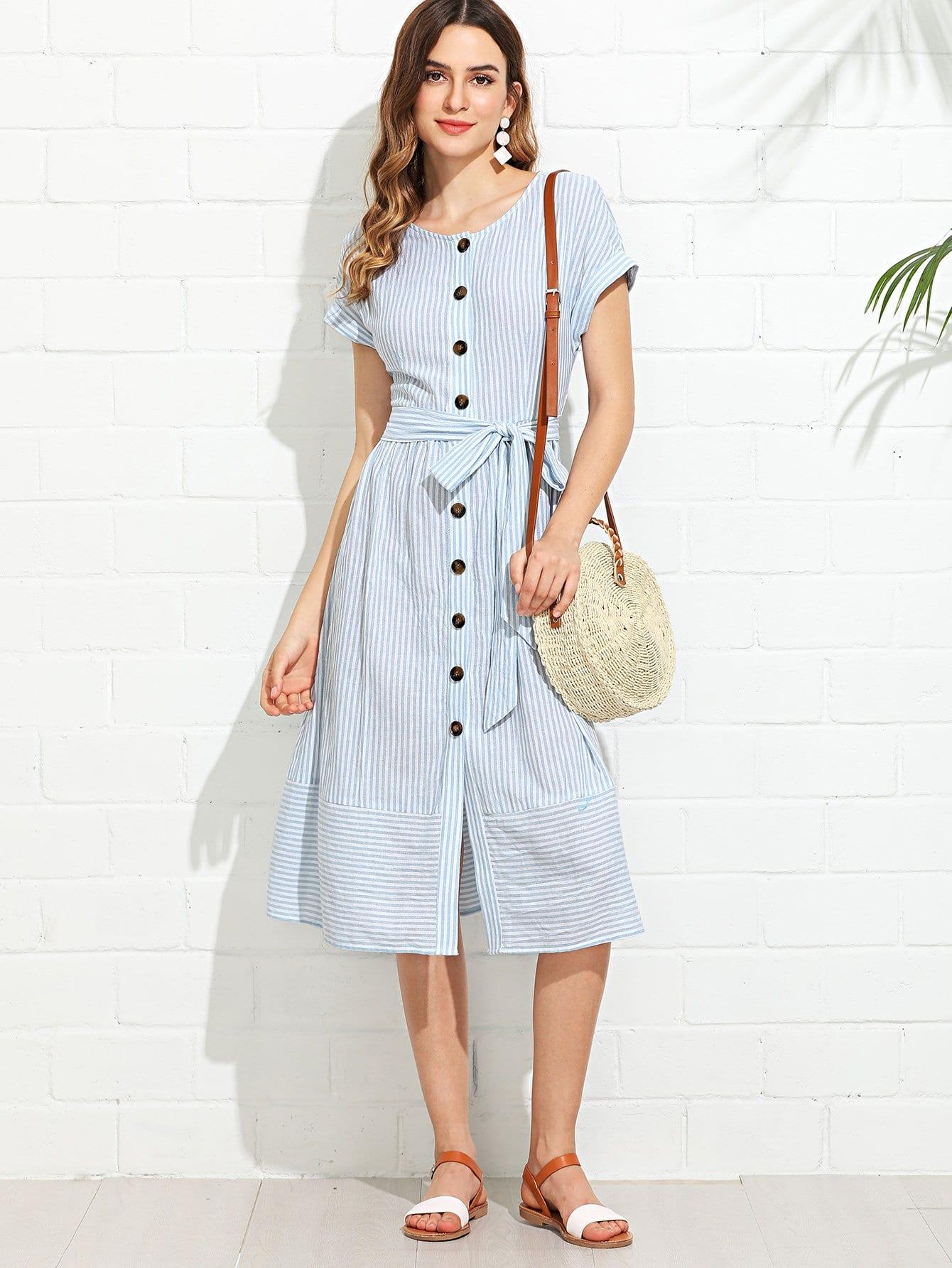 Купить Платье с полосками и пуговицами с поясом, Jana, SheIn