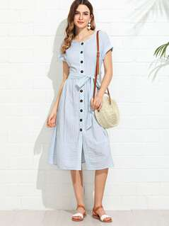 Button Through Belted Vertical Striped Dress