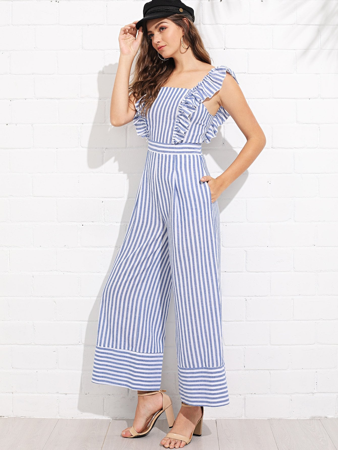 Ruffle Trim Wide Leg Striped Jumpsuit choker neck embroidered ruffle trim jumpsuit