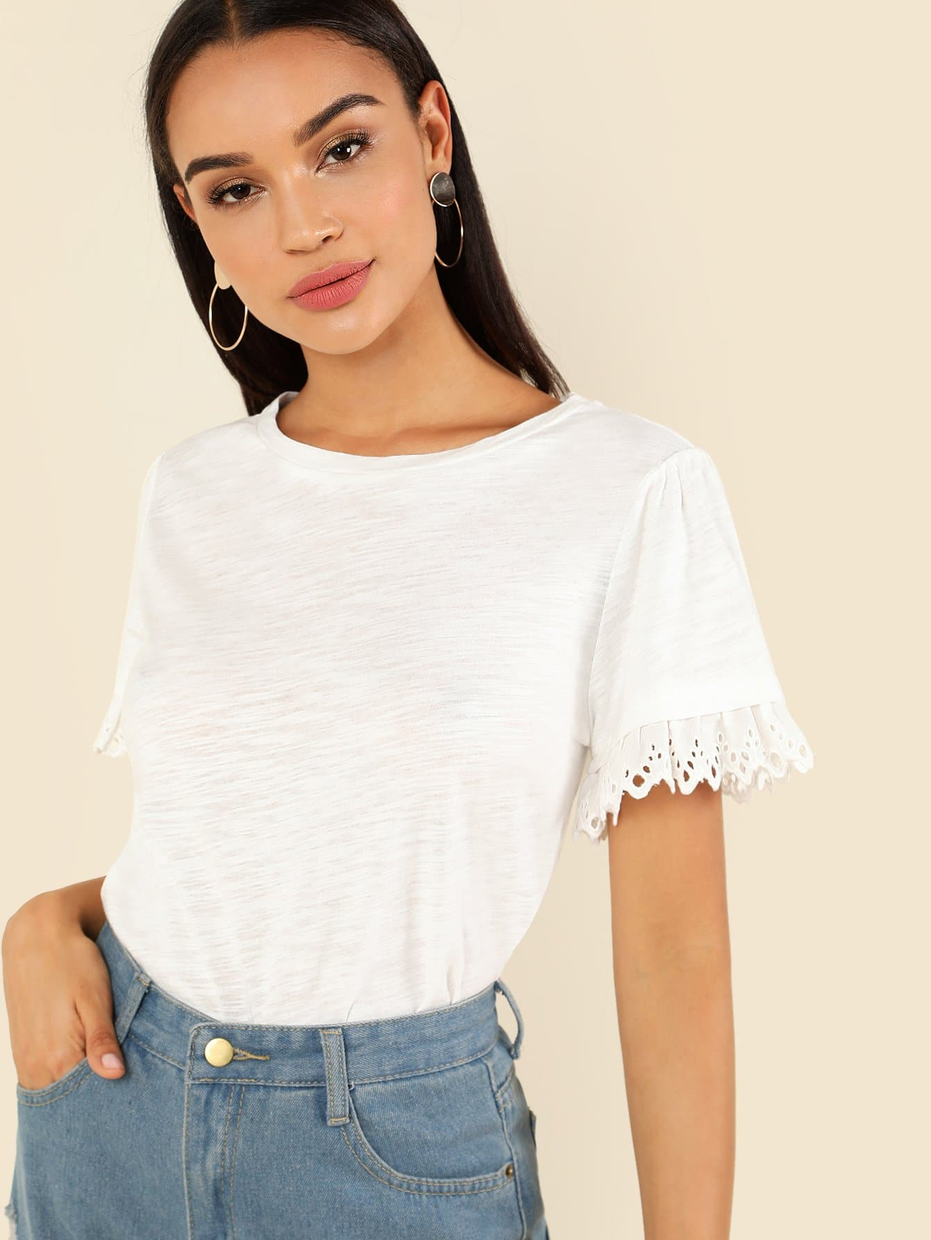 Eyelet Lace Trim Solid Tee lace trim solid top