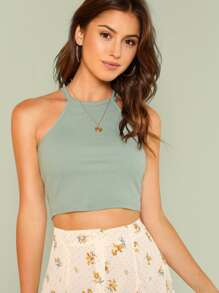 Rib Knit Fitted Crop Halter Top SHEIN
