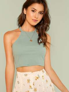 Rib Knit Fitted Crop Halter Top
