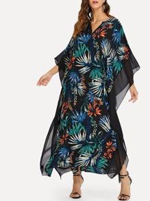 Mesh Panel Botanical Print Dress