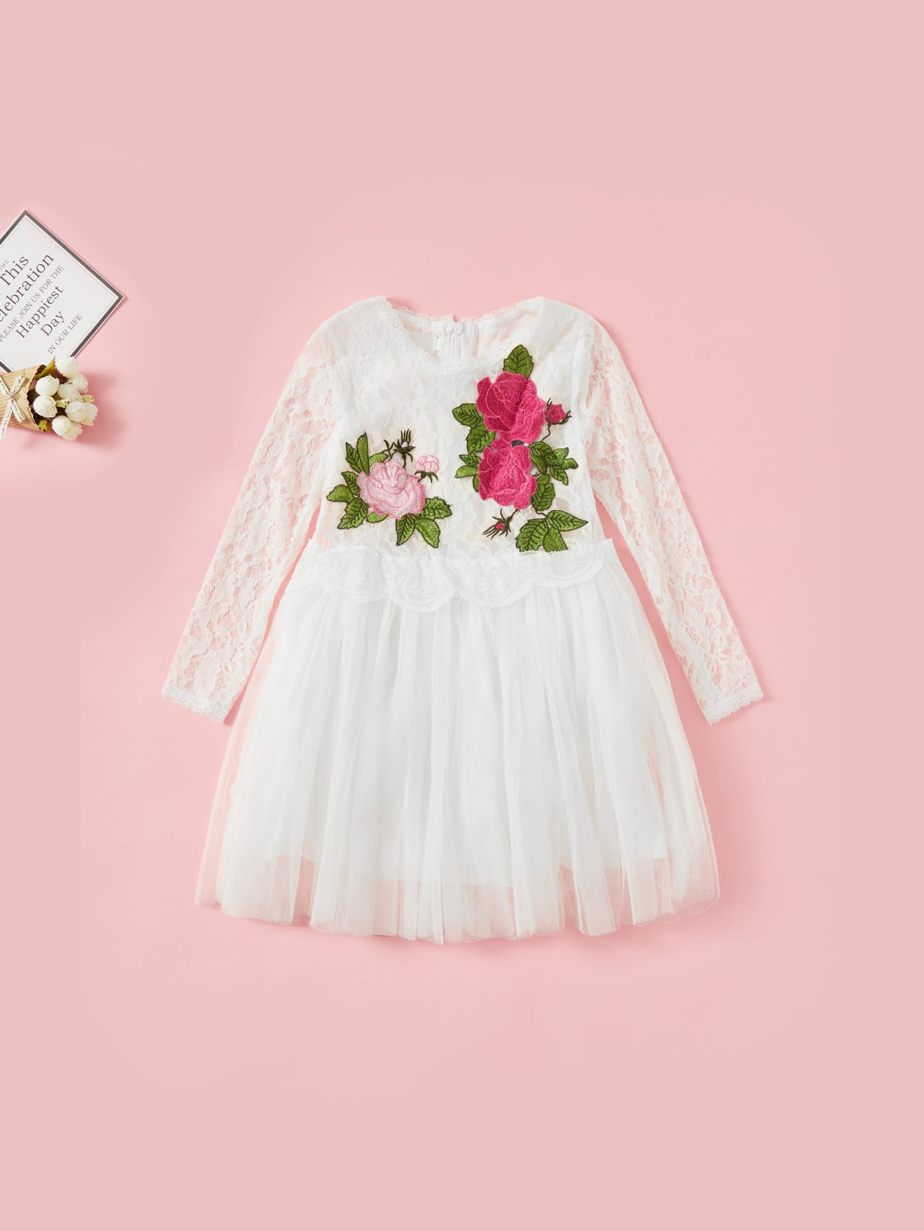 Kids Contrast Lace Tiered Mesh Dress mesh contrast lace top