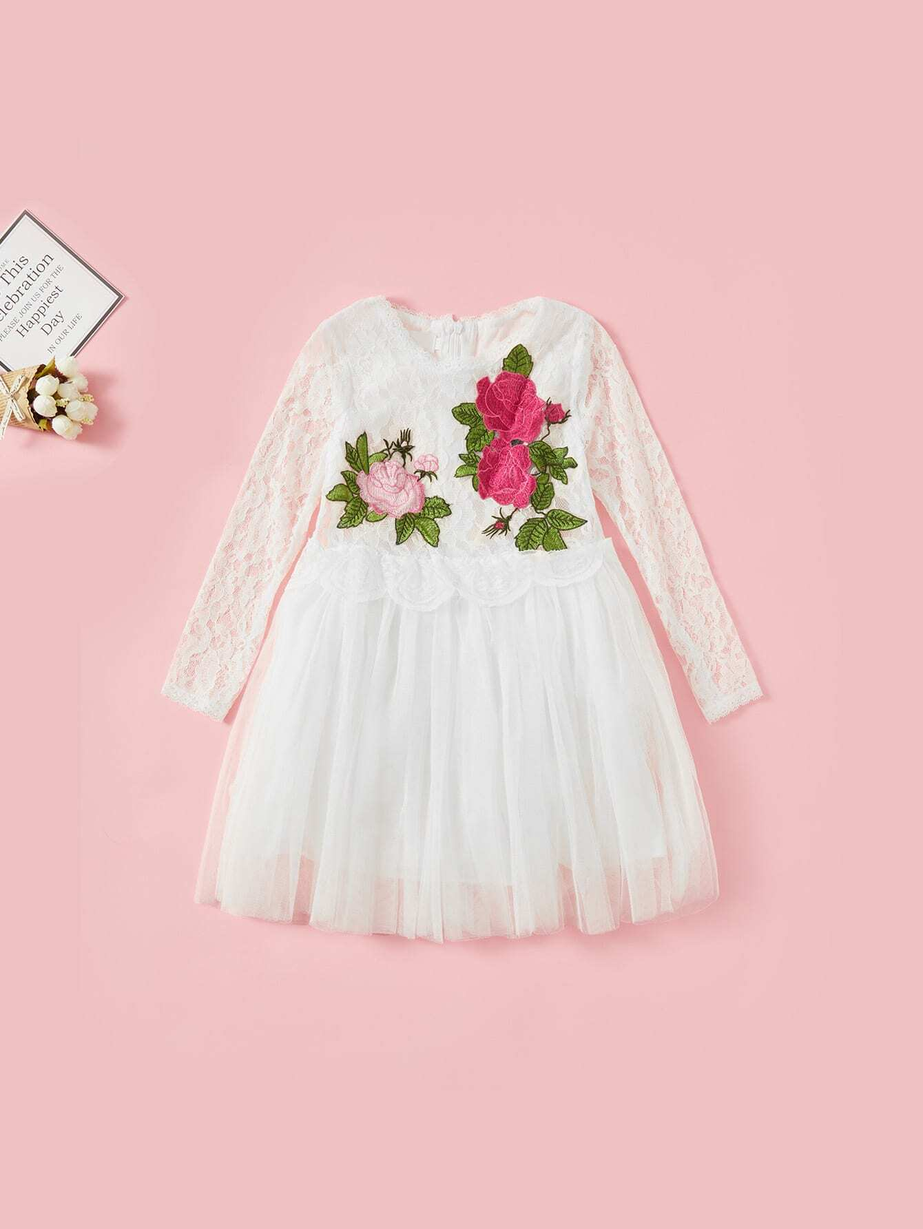 Kids Contrast Lace Tiered Mesh Dress swan print tiered mesh dress