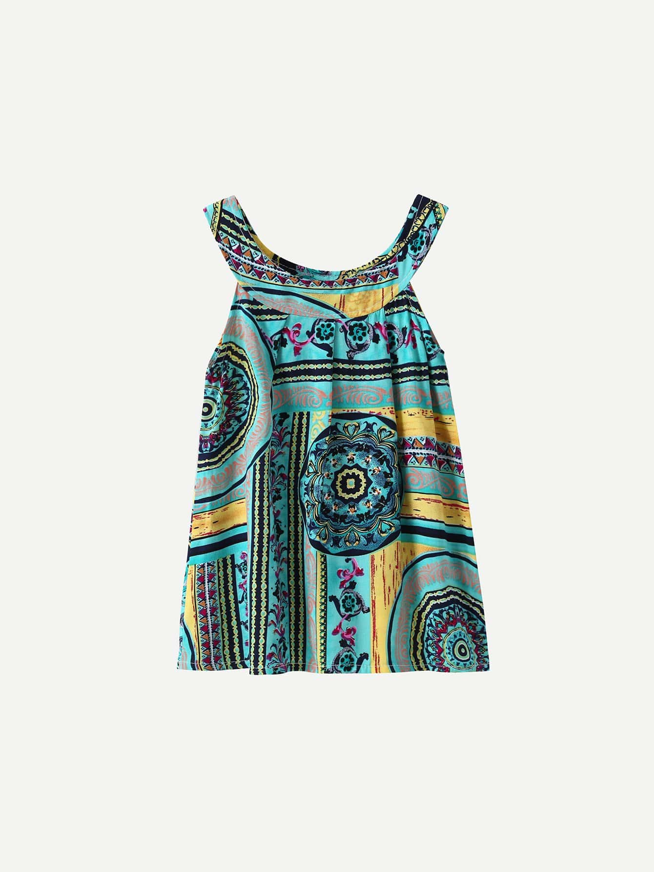 Girls Tribal Print Halter Neck Dress