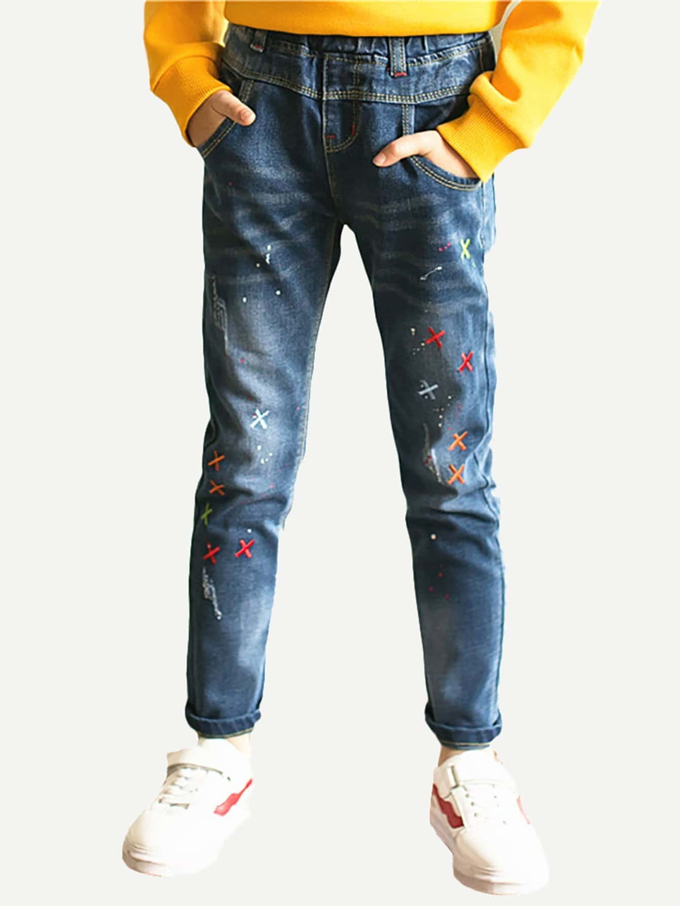 Girls Embroidered Jeans kids embroidered jeans