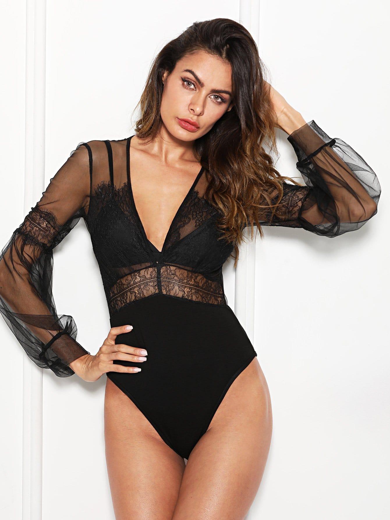 Купить Платье с кружевной кружевной вставкой Sheer Mesh Bodysuit, Andy, SheIn