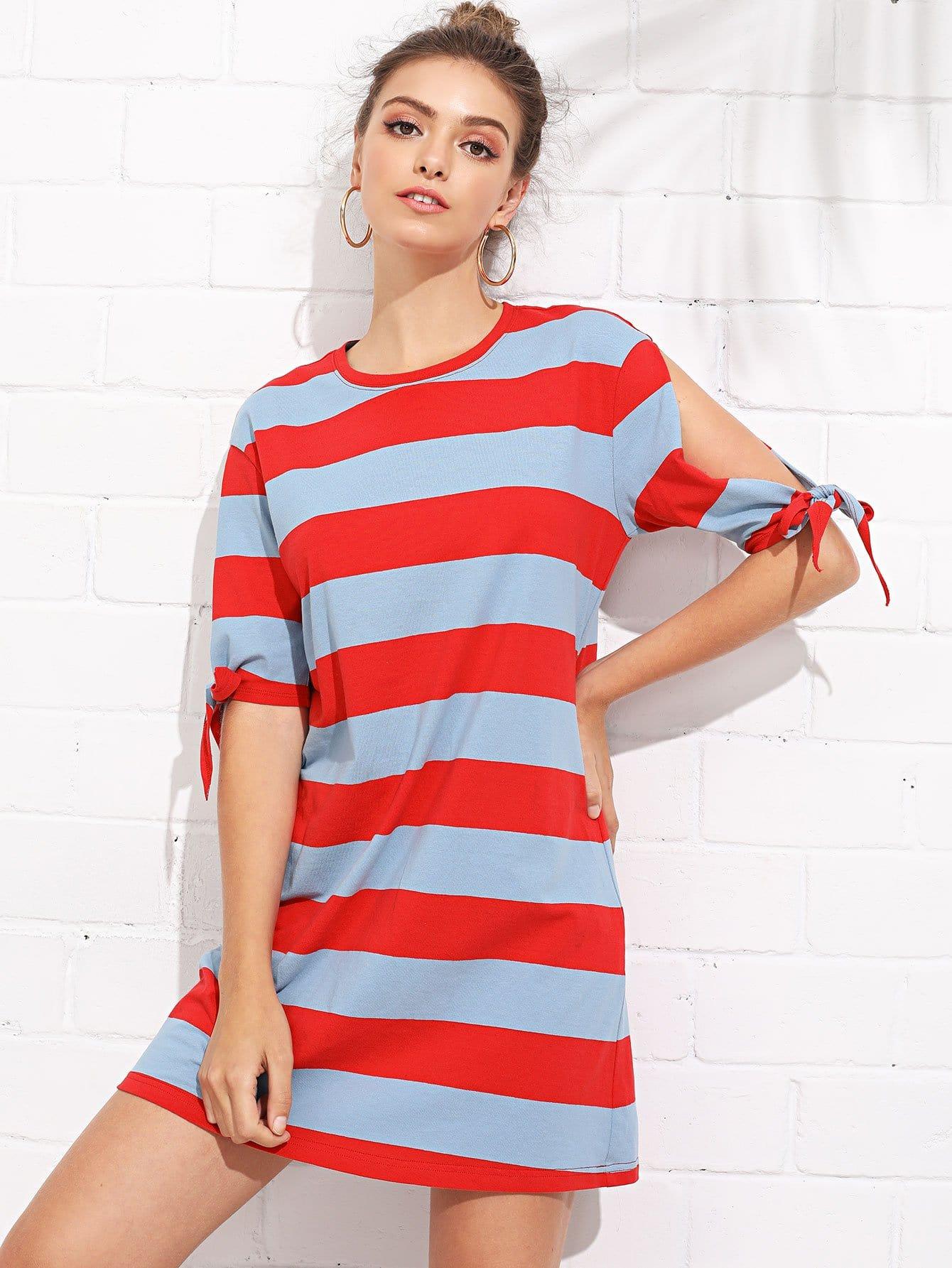 Split Sleeve Knot Cuff Colorblock Dress split colorblock swim dress set