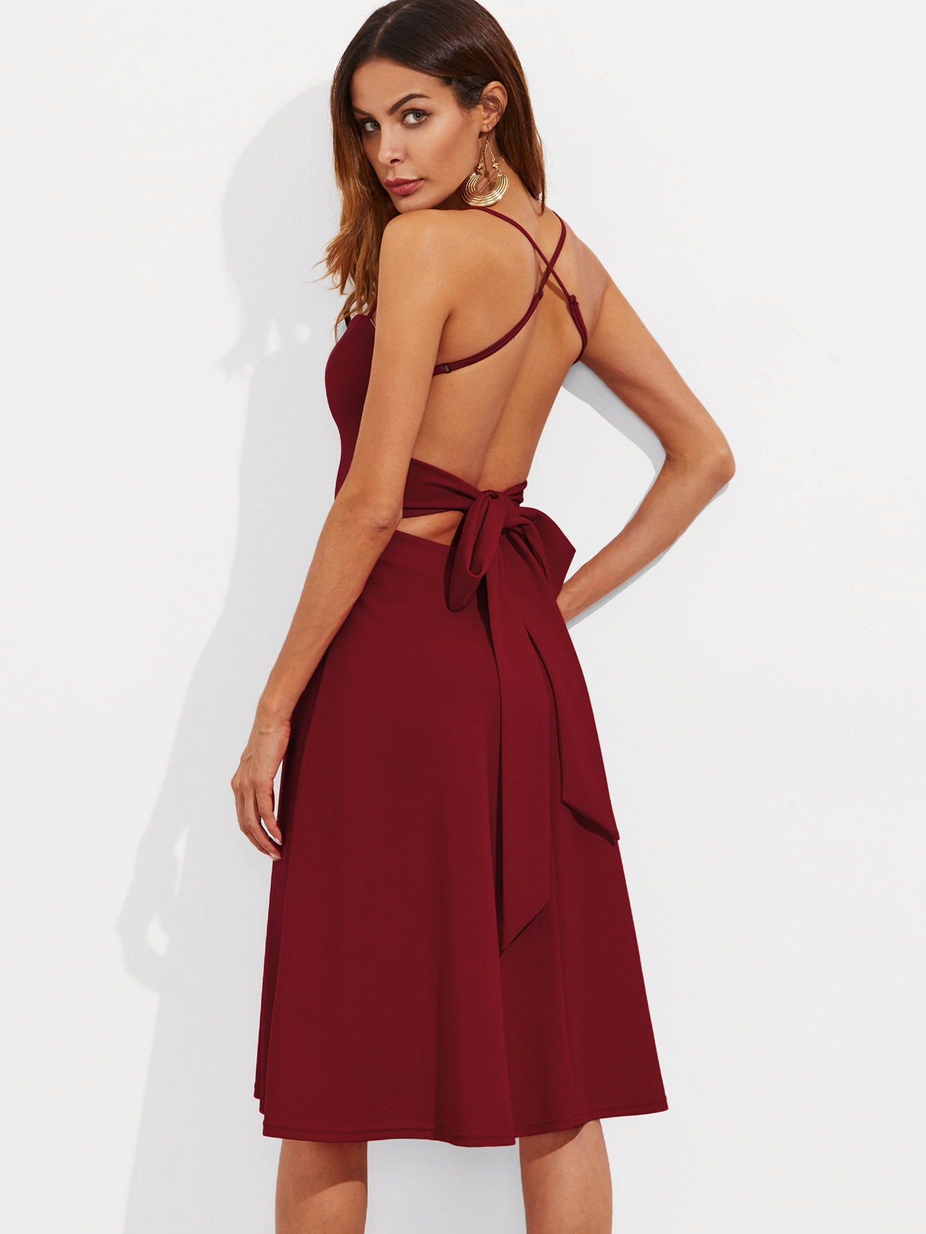 Crisscross Belted Back Fitted & Flared Dress crisscross slit back fitted cami dress