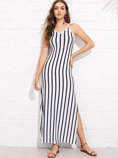 Lace-Up Back Slit Hem Striped Cami Dress