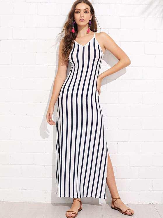 028a26ea28a4 Lace-Up Back Slit Hem Striped Cami Dress | MakeMeChic.COM
