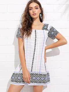 Geo Print Square Neck Tunic Dress
