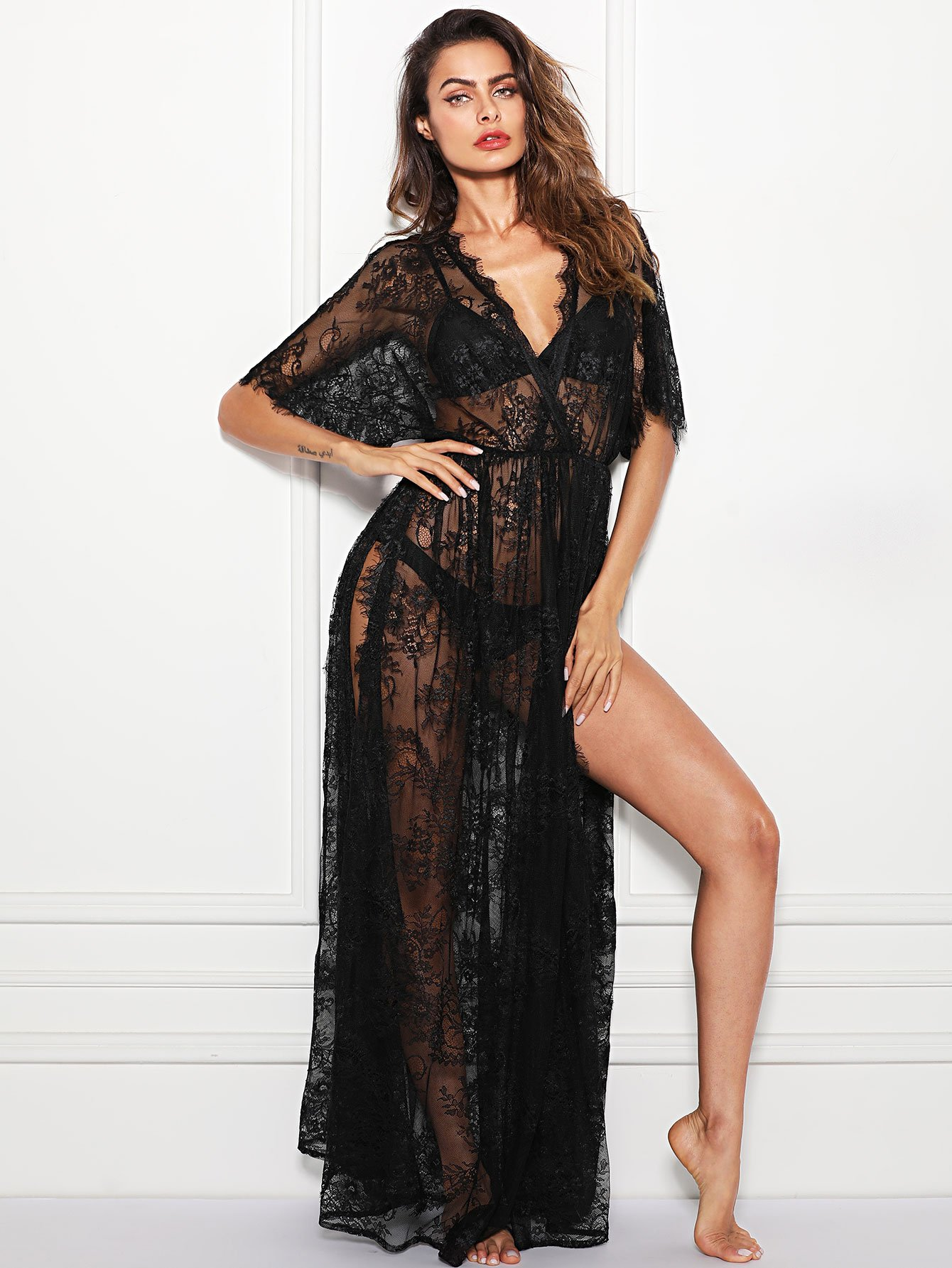 Surplice Wrap Sheer Eyelash Lace Night Dress without Lingerie Set lace sheer lingerie bra set