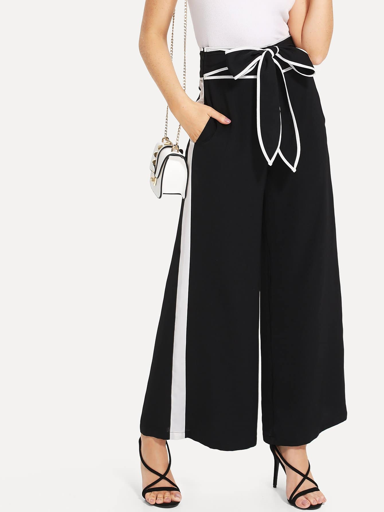 Contrast Tape Knot Front Wide Leg Pants knot front wide leg printed jumpsuit