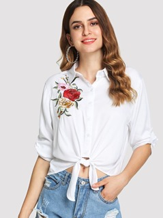 Flower Embroidery Knot Hem Shirt
