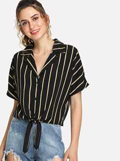 Notch Collar Knot Front Striped Blouse