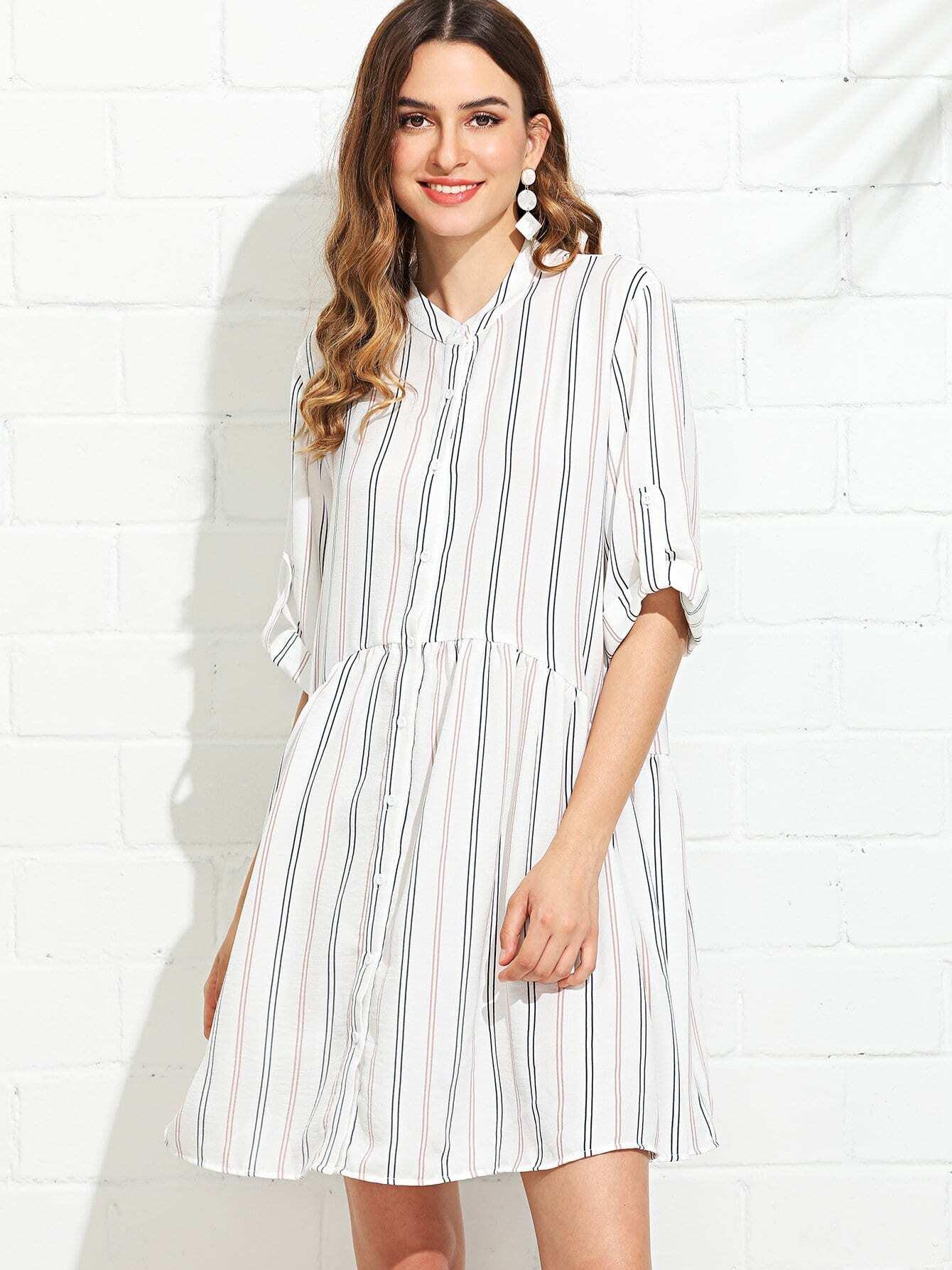 Roll Tab Sleeve Button Up Striped Shirt Dress roll tab sleeve knotted hem striped shirt