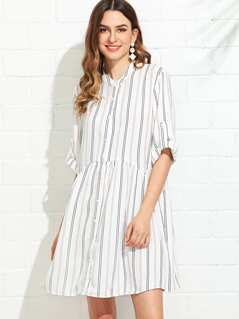 Roll Tab Sleeve Button Up Striped Shirt Dress