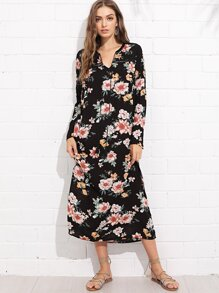 Tasseled Tie Lace Insert Belted Floral Dress