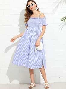 Shirred Bodice Gingham Bardot Dress