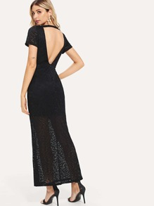 V-Back Floral Lace Dress